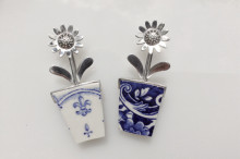 Ceramic and silver flowerpot brooch