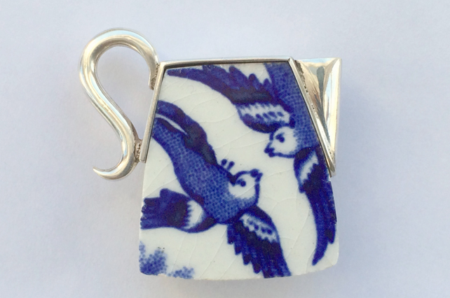 Ceramic bluebird jug brooch