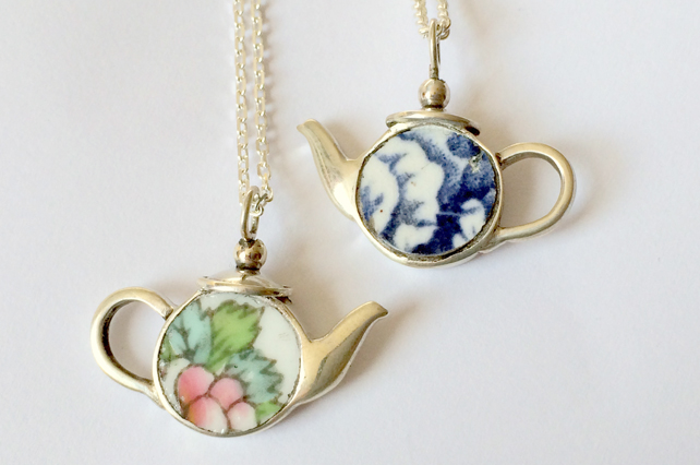 Ceramic and silver teapot pendant