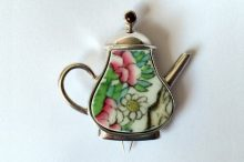Ceramic floral coffee pot brooch